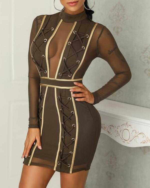 541e54db0bd6 Mesh Splicing Lace-Up Eyelet Bodycon Dress Online. Discover hottest trend  fashion at ivrose.com