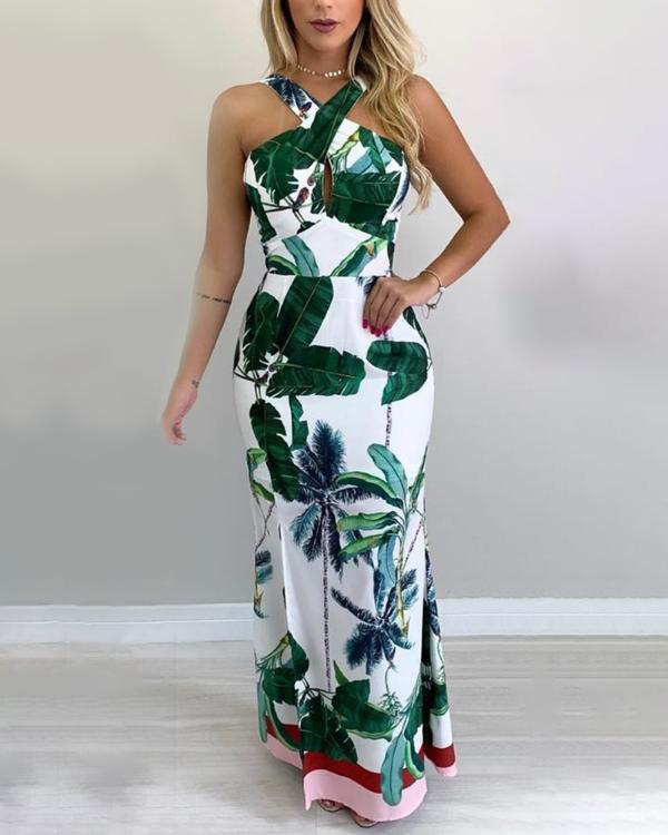 e45d100afaa Tropical Print Crisscross Neck Maxi Dress Online. Discover hottest trend  fashion at chicme.com
