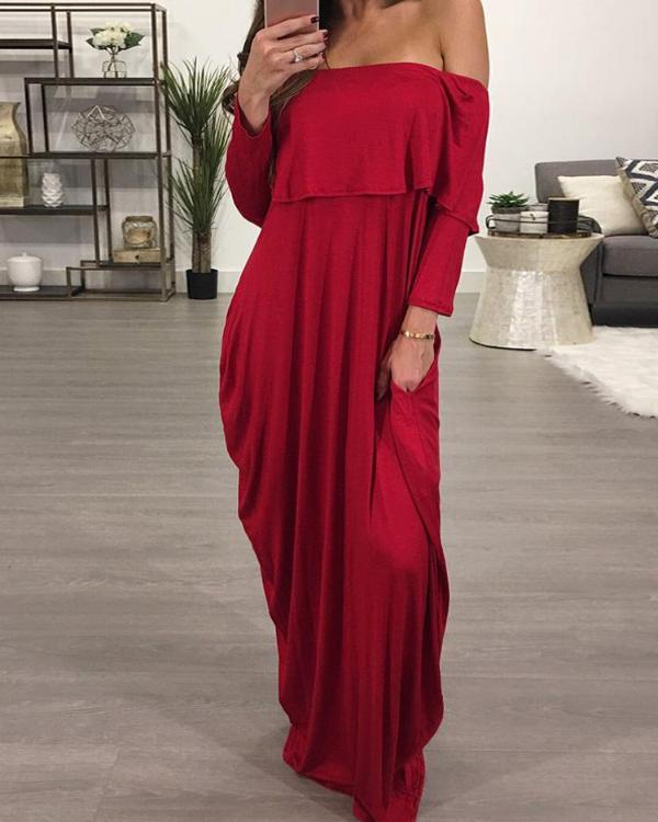 9a56b2217e54 Ruffled Off Shoulder Baggy Maxi Dress Online. Discover hottest trend  fashion at chicme.com