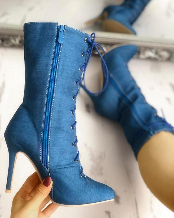07213c067758 Solid Lace-Up Eyelet Pointed Toe Heeled Boots Online. Discover hottest  trend fashion at chicme.com