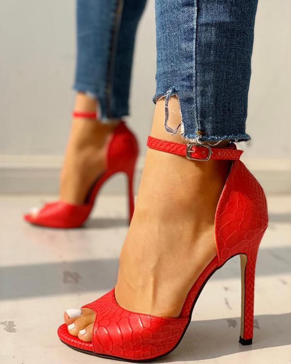 eb9542dda08 Peep Toe Ankle Strap Thin Heeled Sandals