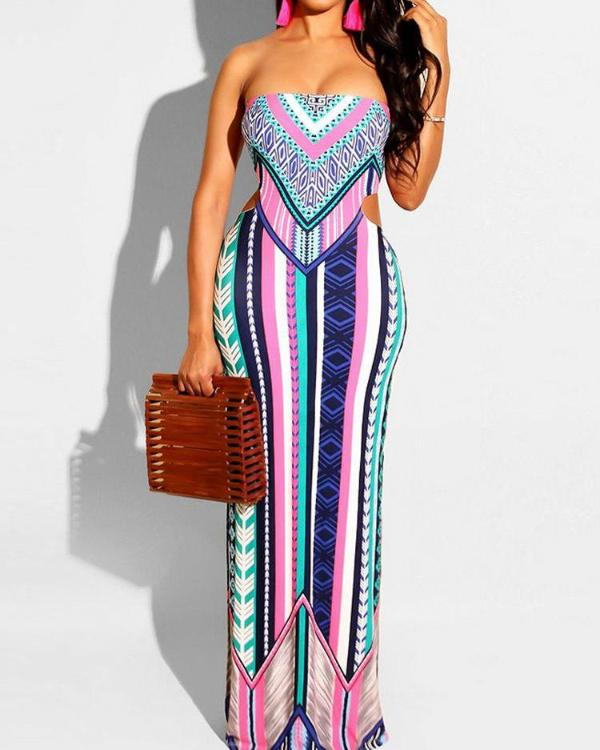 2fecfcda1e8 Mixed Print Cutout Back Tube Maxi Dress Online. Discover hottest trend  fashion at chicme.com