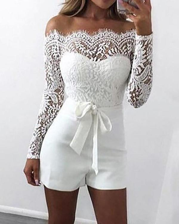 5705893c10 White Belt Off The Shoulder Skinny Lace Crochet Sweetheart Romper Online.  Discover hottest trend fashion at chicme.com