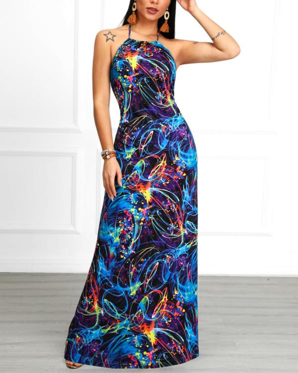147843d7c4f1 Colorful Print Open Back Halter Maxi Dress Online. Discover hottest trend  fashion at chicme.com