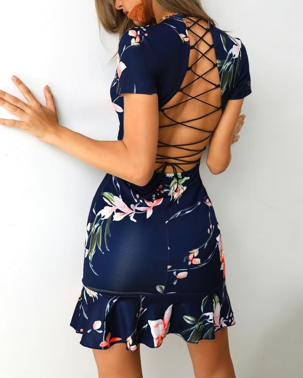 5c902593c876 Lace-Up Back Pep Hem Print Dress Online. Discover hottest trend fashion at  chicme.com