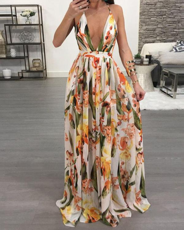 94c4163cd72 Floral Deep V Neck Backless Maxi Dress Online. Discover hottest trend  fashion at chicme.com