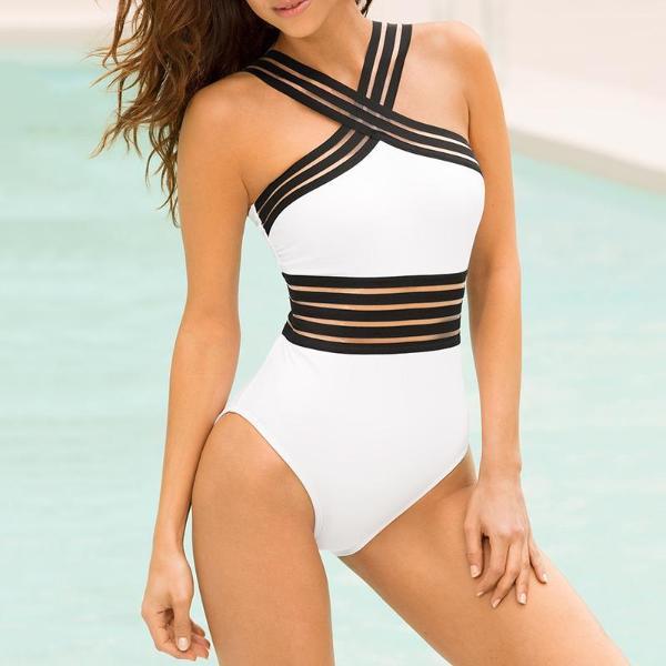 4bdddf59beb150 Sexy Women's Splice Elastic Band Halter Monokini Swimsuit Jumpsuit Bathing  Suit Beachwear Online. Discover hottest trend fashion at chicme.com