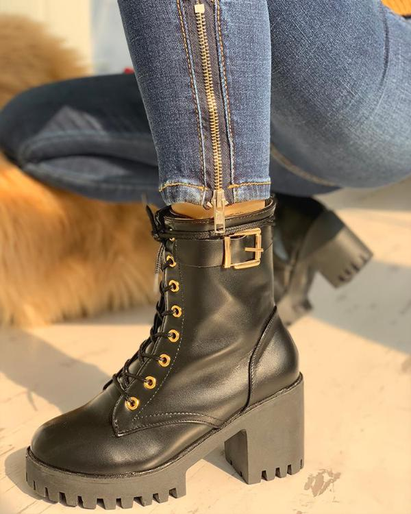 e0b642b3103d PU Platform Eyelet Lace-Up Chunky Heeled Boots Online. Discover hottest  trend fashion at chicme.com