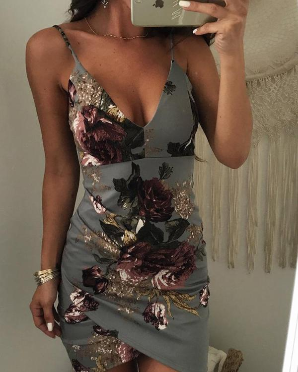 ffd0195b5e09 Irregular Floral Print Backless Bodycon Slip Dress Online. Discover hottest  trend fashion at chicme.com