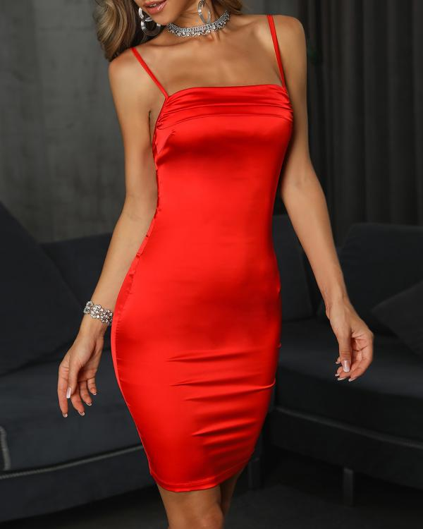 1e6585e7c01 Spaghetti Strap Ruched Bodycon Dress Online. Discover hottest trend fashion  at chicme.com