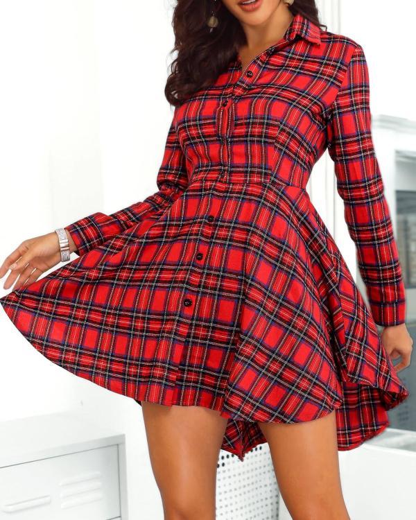fc2d2c3a77 Plaid Print Button Up Irregular Shirt Dress Online. Discover hottest trend  fashion at chicme.com