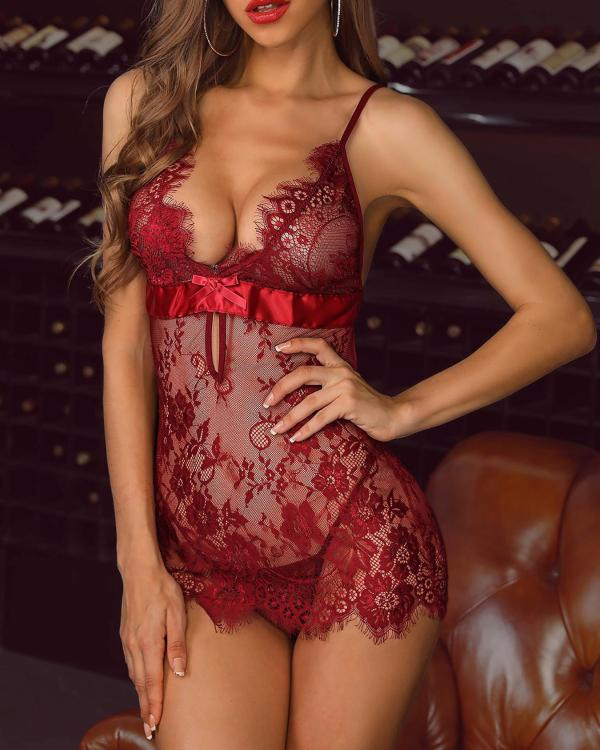 fcfbb911f26 Spaghetti Strap Eyelash Lace Babydoll Dress Online. Discover hottest trend  fashion at chicme.com