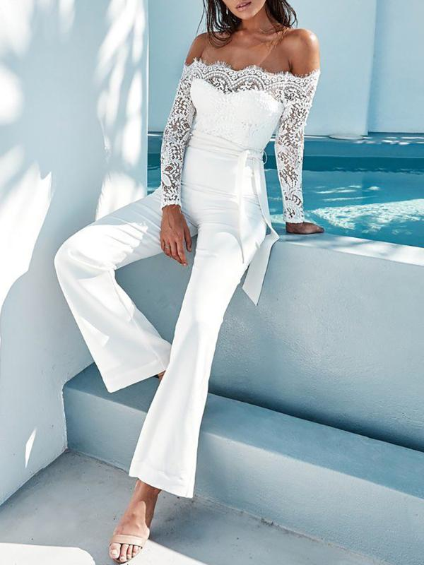 38eafaaa65 White Elegant Lace Sleeve Eyelash Wide Leg Jumpsuit Pantsuit Romper Online.  Discover hottest trend fashion at chicme.com