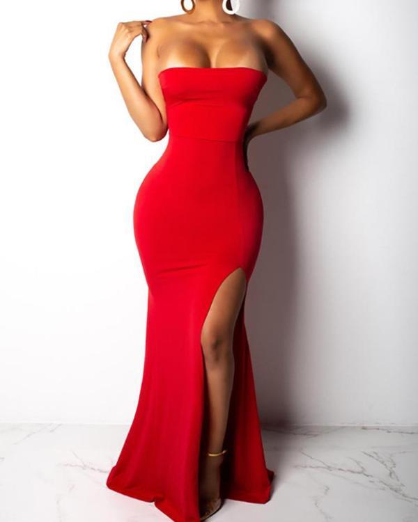 Thigh Slit Lace Up Back Tube Evening Dress