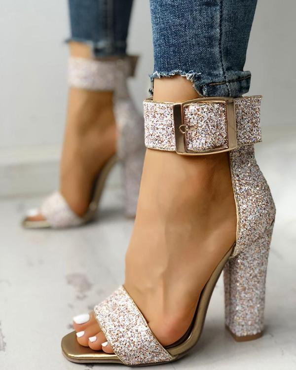 Heeled Stylish Sequin Toe Sandals Open Chunky sCBtdxhQr