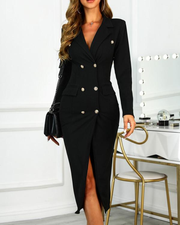 28a24fbaa79d Double Breasted Slit Blazer Dress Online. Discover hottest trend fashion at  chicme.com