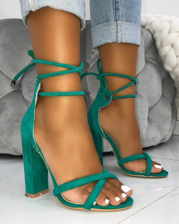 817aa9a9b3 Suede Crisscross Strappy Chunky Heeled Sandals Online. Discover hottest  trend fashion at chicme.com