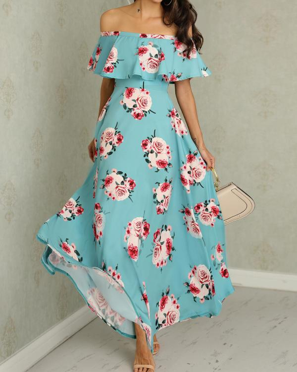 dded3721b214 Floral Print Flounce Ruched Maxi Dress Online. Discover hottest trend  fashion at chicme.com