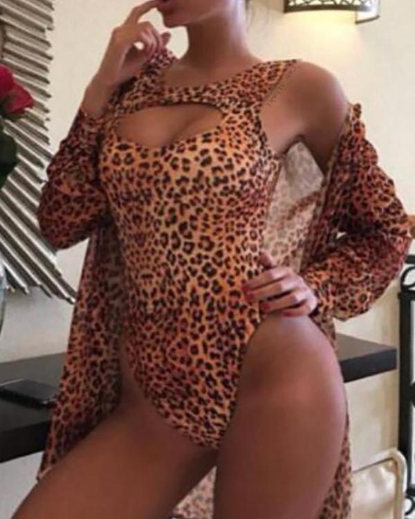 4a2bc81de13550 Leopard Print Cut Out One-Piece Swimsuit Online. Discover hottest trend  fashion at chicme.com