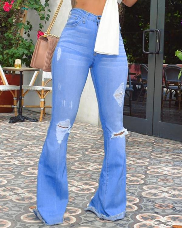 search for latest top-rated cheap real deal High Waist Ripped Bell-Bottom Jeans