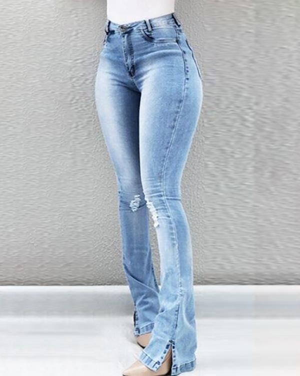 e4c913a0db High Waist Ripped Bell-Bottom Jeans Online. Discover hottest trend fashion  at ivrose.com