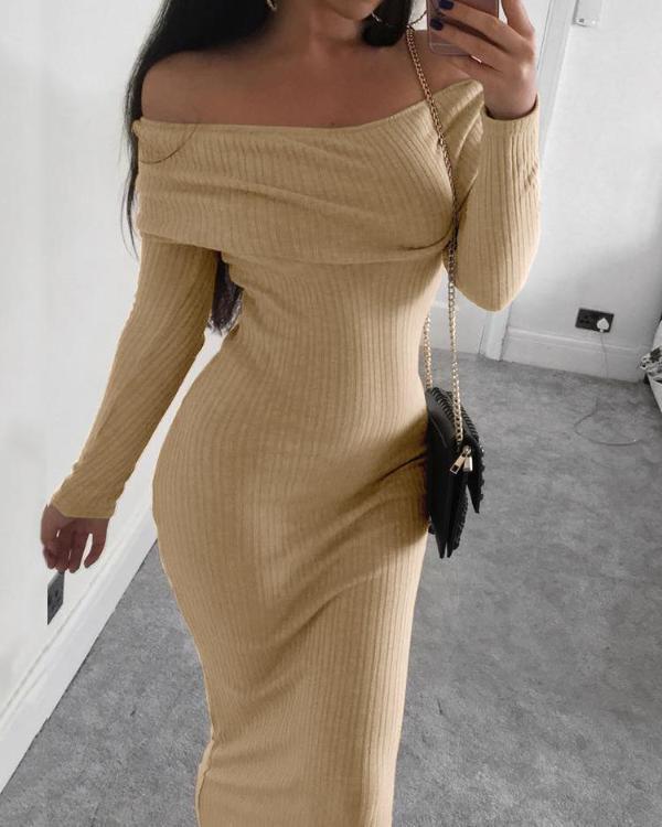 0ea21ecd9743 Rib-knit Off Shoulder Bodycon Maxi Dress Online. Discover hottest trend  fashion at ivrose.com
