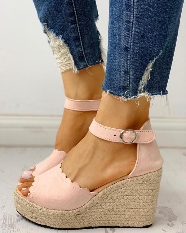 69116ca0cc3 Peep Toe Espadrille Platform Wedge Sandals