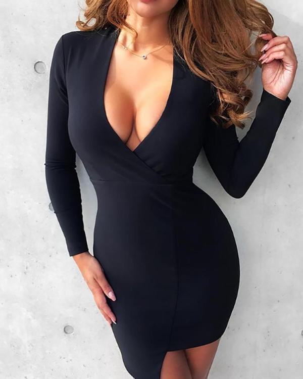 7be427564d9 Asymmetric Deep V Long Sleeve Bodycon Dress Online. Discover hottest trend  fashion at chicme.com