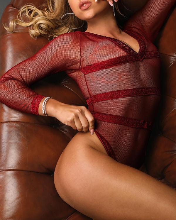 2bdbb88528b Sheer Mesh Stripes Teddy Bodysuit Online. Discover hottest trend fashion at  chicme.com