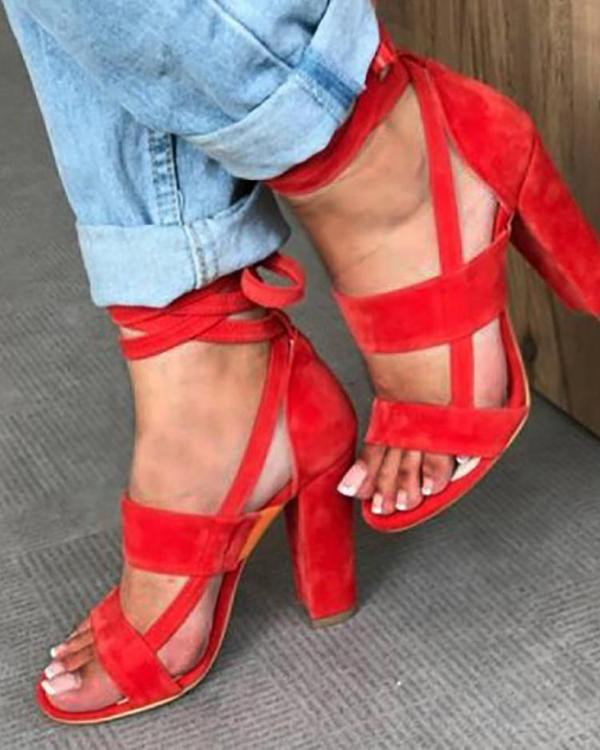 b6c6eb23658 Fashion Solid Color Chunky Heeled Sandals