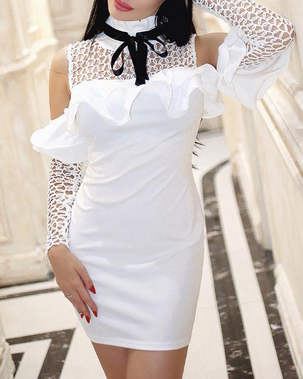 c3a49a760ec Cold Shoulder Hollow Out Ruffles Bodycon Dress Online. Discover hottest  trend fashion at chicme.com