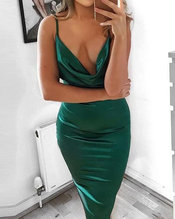4345d0e38 Drape Neck Bodycon Cami Dress Online. Discover hottest trend fashion at  chicme.com