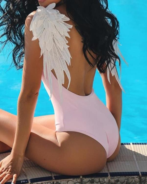 1e4a228ec020c6 Angel Wing Patch Open Back One-Piece Swimsuit Online. Discover hottest  trend fashion at chicme.com
