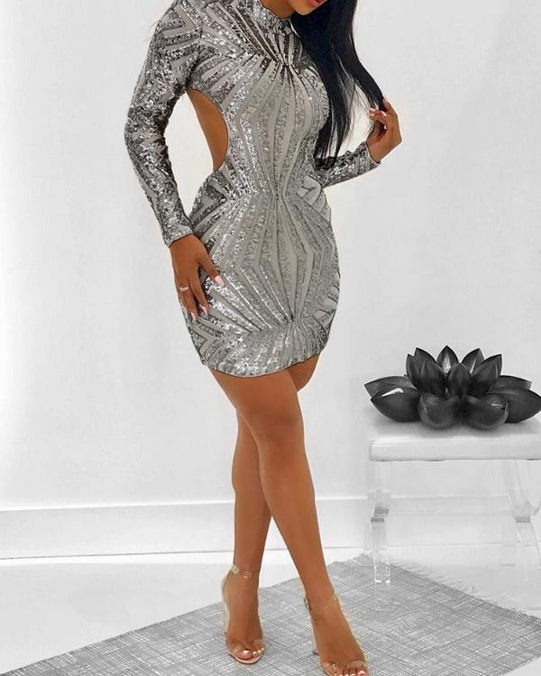 67892e649900 Shinny Open Back Long Sleeve Bodycon Dress Online. Discover hottest trend  fashion at chicme.com
