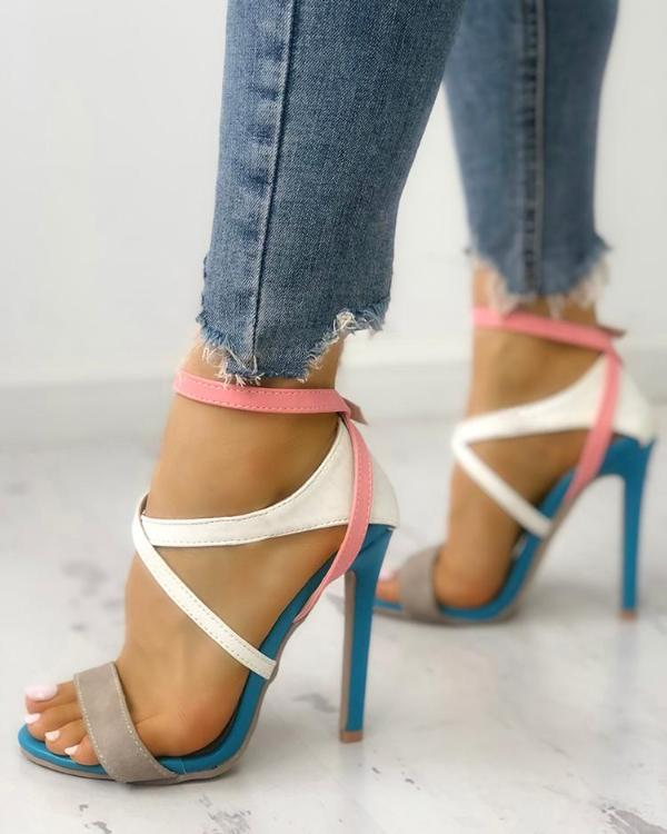 939915fac1c Multicolor Strappy Cut Out High-heel Sandals Online. Discover hottest trend  fashion at chicme.com