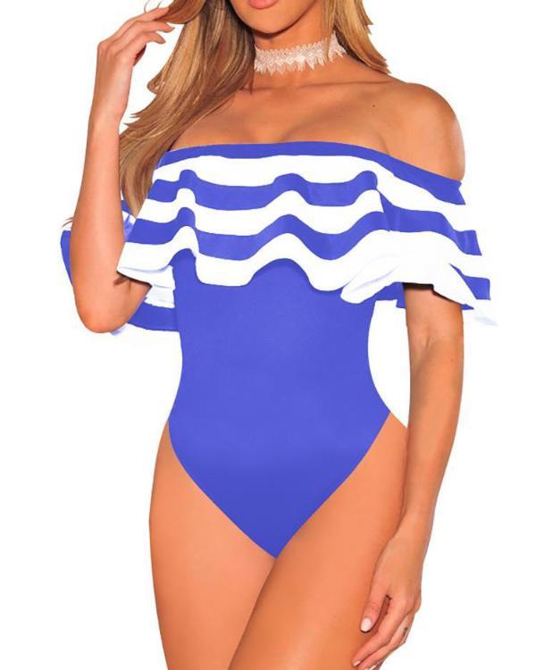 928e0bc4a8e Striped Flounce Bardot One-Piece Swimwear Online. Discover hottest trend  fashion at chicme.com