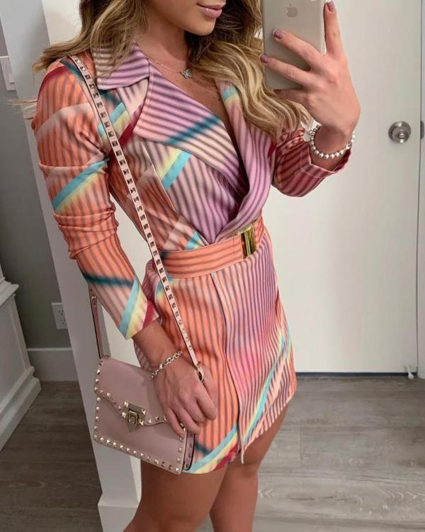 55af46cc8ec Colorful Striped Print Blazer Dress