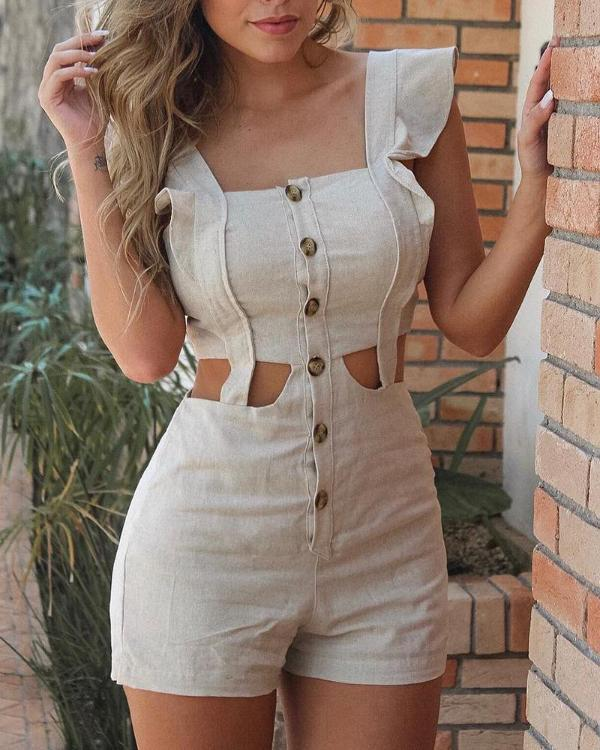 b6a51bfb42a Cutout Buttoned Ruffles Design Romper Online. Discover hottest trend  fashion at chicme.com