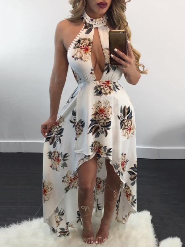 e2d956b7191d Keyhole Design Halter Bare Back High-low Maxi Dress Online. Discover  hottest trend fashion at ivrose.com