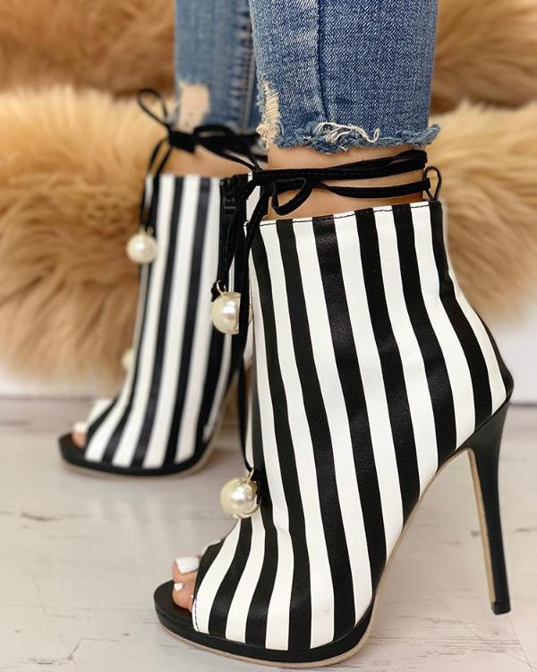 4022378ab612 Stylish Beading Stripes Peep Toe Stiletto Heels Online. Discover hottest  trend fashion at chicme.com