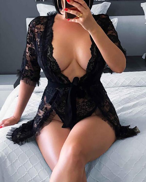 32508af794a Eyelash Lace Sheer Babydoll Coat With Underwear Online. Discover hottest  trend fashion at ivrose.com