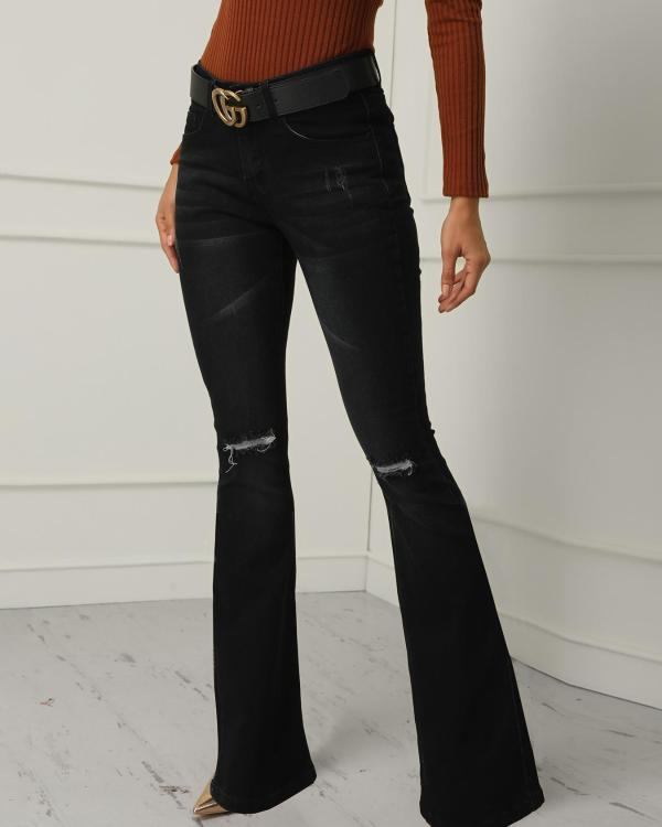 buy online shop for best popular style Cut Out Knee Raw Hem Flared Jeans