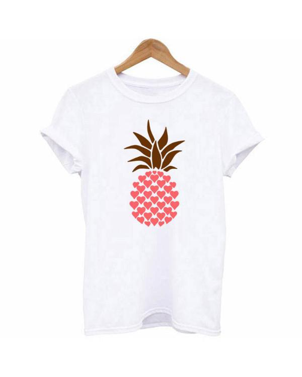 ee70438815ae Pineapple Print Casual White T-shirt Online. Discover hottest trend fashion  at chicme.com