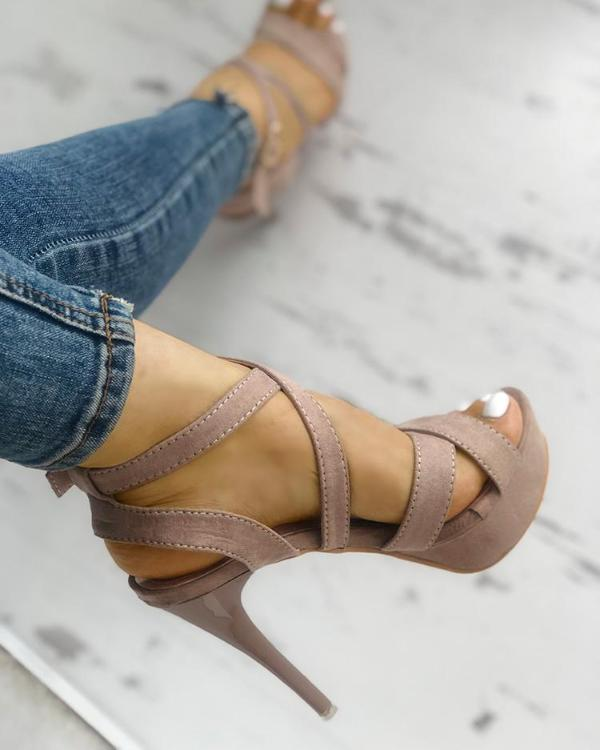 fa22cfcfc6a5 Crisscross Buckle Platform Thin Heeled Sandals Online. Discover hottest  trend fashion at chicme.com