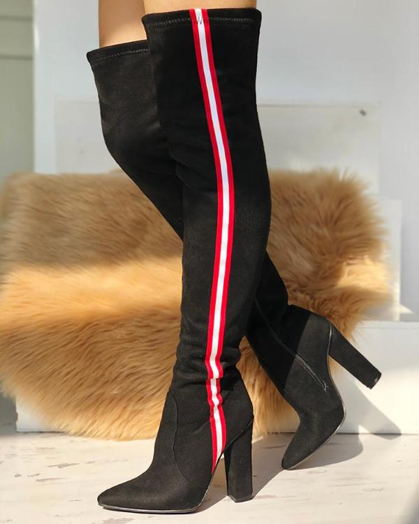 Stripes Tape Over The Knee Boots
