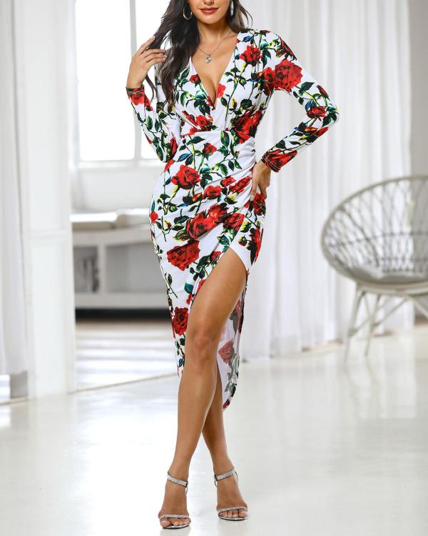 afa2a72ad94f Floral Print Ruched Slit Irregular Dress Online. Discover hottest trend  fashion at chicme.com