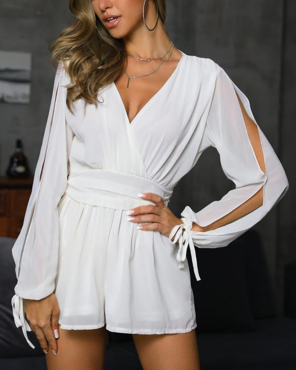 7b36c8b38a Slit Sleeve V-Neck Wrap Romper Online. Discover hottest trend fashion at  chicme.com