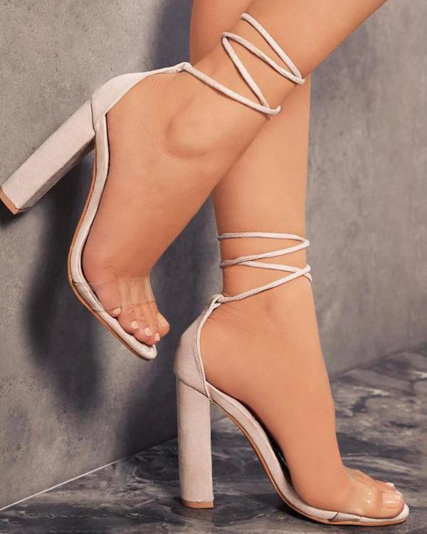 9884939eb530 Comfy Lace Up Chunky Heels Sandals Online. Discover hottest trend fashion  at chicme.com