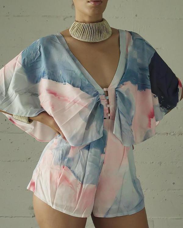 Tie Dye Print Romper with V Neck Line