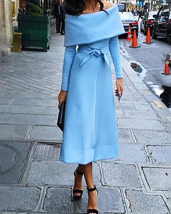 bb03bb3b487 Fold-Over Off Shoulder Belted Long Sleeve Dress Online. Discover hottest  trend fashion at chicme.com